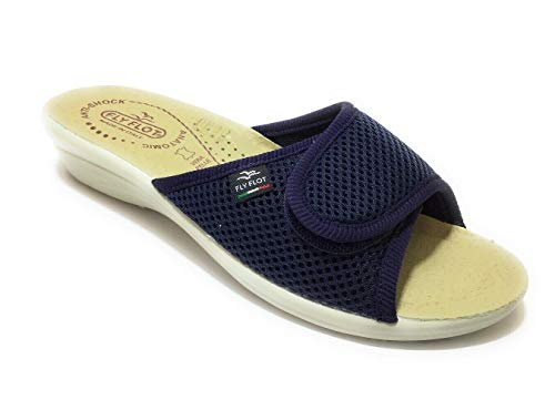 Fly Flot T4413 Fe Blu Ciabatte Donna Made in Italy Zeppa 3 CM Anatomica (Numeric_38)