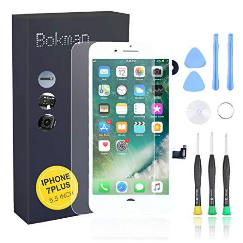 Bokman LCD Pantalla para iPhone 7 Plus Reemplazo de Pantalla LCD con Cámara Frontal, Sensor Flex, Altavoz Auricular y Herramientas de Reparación(Blanco)