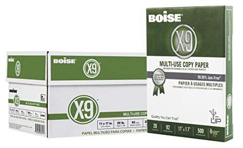 Boise Paper X-9 Multi-Use Copy Paper, 11' x 17' Ledger, 92 Bright White, 20 lb, 5 Ream Carton (2,500 Sheets)