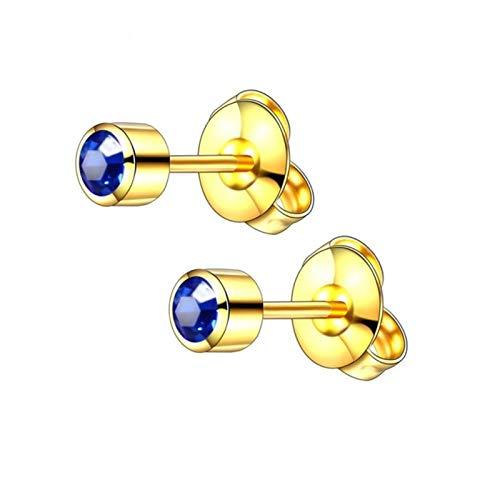 QIN 2PCS steel earrings rivet thorn earbed born stone gemstone ear bolt earrings gold/silver stud orange jewelry