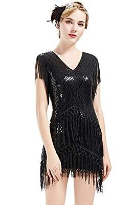BABEYOND 1920s Flapper Dress Long Fringed Gatsby Dress Roaring 20s Sequins Beaded Dress Vintage Art Deco Dress