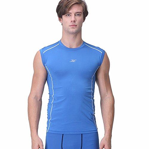 Henri maurice NM T-shirt de compression sans manches pour homme - Bleu - X-Large