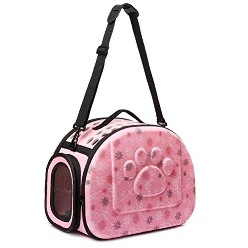 1 Pieza Bolsa para Mascotas Bolsa de Hombro Transpirable para Mascotas portátil al Aire Libre Bolso Espacio EVA Gatos Perros Mochila Bolsa de Hombro de Viaje Plegable Gatos Perros, Rosa, XS