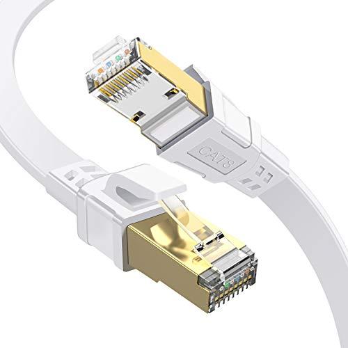 GLCON 2m Cat8 Gigabit Netzwerkkabel High Speed Ethernet Kabel 2000MHz 40000 Mbit/s Flach LAN Kabel Kompatibel mit Switch Router Modem Patch-Panel PS4 PC TV Xbox Game Console(Weiß)