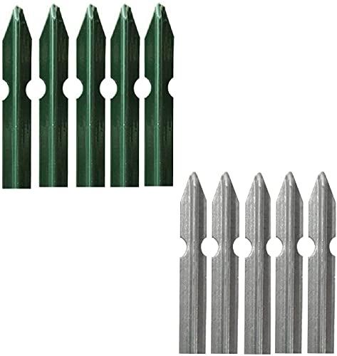 Set 5 Paletti a T per Recinzione in Acciaio Plasticato VERDE o in Acciaio ZINCATO per Sostegno Reti Recinzione Giardino Terreni Aiuole Orti Proprietà (Acciaio Plasticato VERDE, H: 100 CM - 30x30x3 mm)