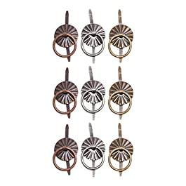 Tim Holtz Idea-ology Ring Fasteners, 9 Brad Fasteners with Fluted Tops and Attached Jump Rings, Nickel, Brass, Copper…
