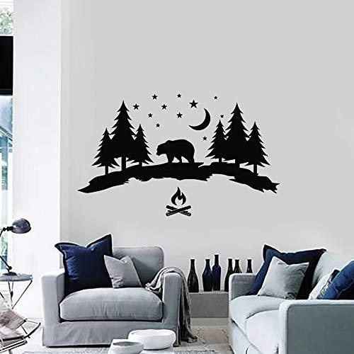 Tianpengyuanshuai wandsticker avontuur beer bos nacht natuur camping vinyl raam slaapkamer woonkamer kinderkamer decoratie huis