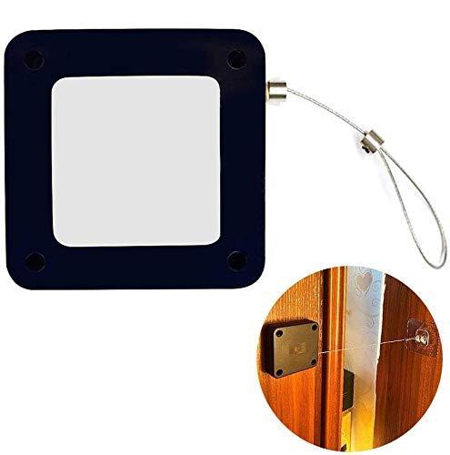 Cierrapuertas con sensor automático sin perforaciones, limitador de puerta antipinzamiento telescópico silencioso con cordón, para puerta batiente interior Puerta corredera fácil instalación 1M negro