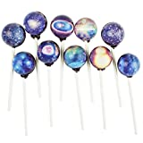 Sparko Sweets 10 Piece Big Bang Galaxy Lollipops Stars Designs in Space Foil Gift Pack Large Sphere, Handcrafted in USA, 1.5 Pounds
