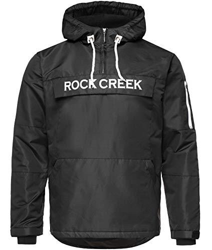 Rock Creek Herren Windbreaker Jacke Übergangsjacke Anorak Schlupfjacke Kapuze Regenjacke Winterjacke Herrenjacke Jacket H-167 Schwarz 4XL
