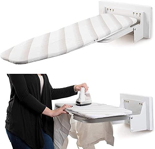 uyoyous Tabla de planchar plegable para montaje en pared, con cubierta resistente al calor, giratoria 180°, tabla de planchar de pared para ahorrar espacio, de primera clase (blanco)