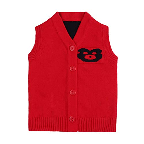 Cotton Bear Knit Baby Sweater Vest Sleeveless V-Neck Infant Boys Sweater Casual Newborn Girls Sweater Spring Autumn (Red, 9 Months)