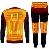Yokbeer Ropa Interior Calefactable, Invierno, Forro, Chaqueta Calefactora, USB, Camiseta y Pantalón, Calefactor Eléctrico, para Traje de Esquí y Camping de Invierno (Color : Black, Size : 3XL)