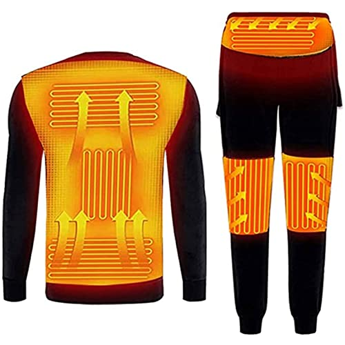 Yokbeer Ropa Interior Térmica de Invierno,Conjunto de Ropa Interior Térmica,Camiseta y Pantalones con Calefacción Eléctrica USB,Traje de Esquí con Batería,Motocicleta (Color : Black, Size : M)