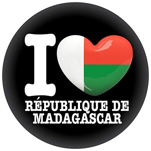 FanShirts4u Button/Badge/Pin - I Love MADAGASKAR Fahne Flagge (I LOVE RÉPUBLIQUE DE MADAGASCAR)