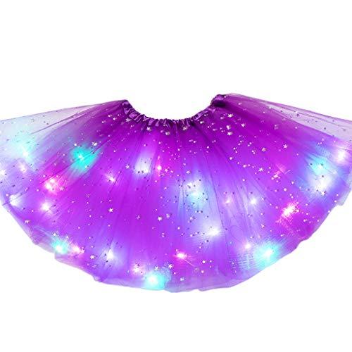 ZZALLL Kids Girls Light Up Glitter Star Lentejuelas Ballet Danza Tul Tutu Falda 3-12T - Morado Oscuro