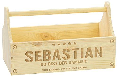 LAUBLUST Große Werkzeugkiste Hammer Motiv - Personalisiert mit Individueller Wunsch-Gravur - 34 x 18 x 20 cm, Natur, FSC® | Geschenkkiste - Geschenk-Verpackung | Aufbewahrungskiste | Flaschen-Korb