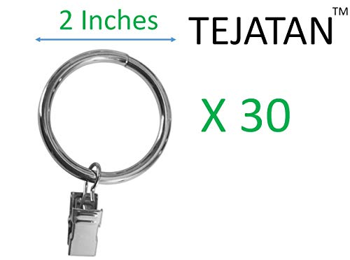 TEJATAN - 2 Inch - Metal Curtain Rings with Clips and Eyelets (Also Known as Rings with Curtain Clips/Curtain Clip Rings/Drapery Rings/Curtain Rings with Clips) (Silver - Set of 30)