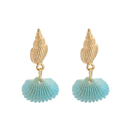 Earrings Women Hansee, Fashion Earrings Trend Color Shell Dangly Stud Earring Alloy Conch Dangle Drop Jewelry Valentine'S Day Gift for Women And Girl(Blue)