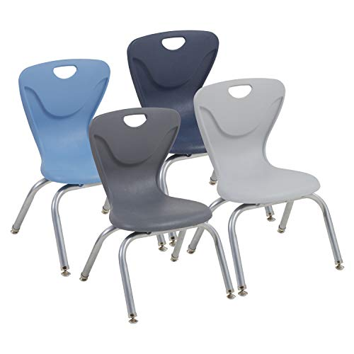 FDP 12' Contour School Stacking Student Chair, Ergonomic Molded Seat Shell with Powder Coated Silver Frame and Swivel Leg Glides; for in-Home Learning or Classroom - Navy/Powder Blue (4-Piece)
