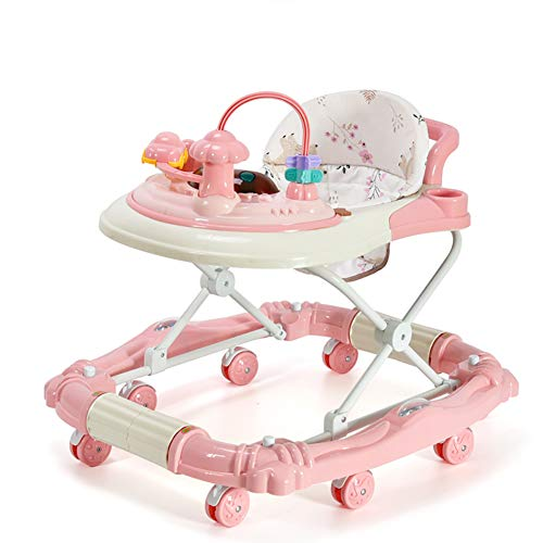 Mother And Me Baby Walker - Infant-to-Toddler Rocker - Push Learning Walker-Seated & Walk-Behind W/Wheels, Adjustable Height, Soft High Back Padded Seat(Basic version, Pink)