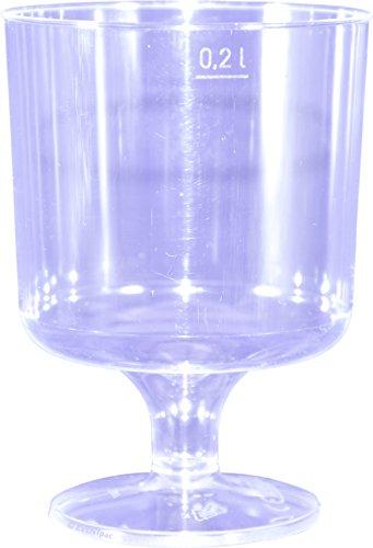 80desechables Copas de vino 200ml Transparente einteilig con llenado 0,2L Copa de vino–Vino Taza/de eventpac®