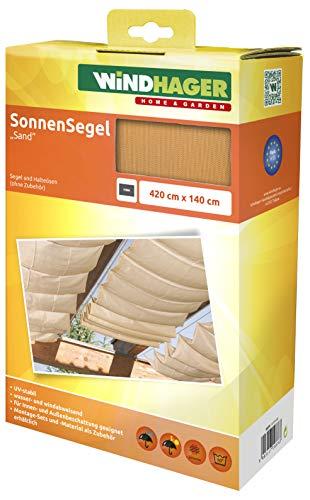 Windhager Sonnensegel für Seilspanntechnik, Wintergarten und Terrassen Beschattung, Seilspannmarkise, 420 x 140 cm, 10878, Sand