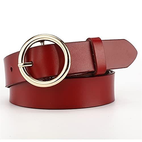 YSJJLRV Lámpara de Pared Cinturones de Mujer Correas de Cintura Femenina Hebillas Casual Jeans Cinturón (Belt Length : 105CM, Color : Red)