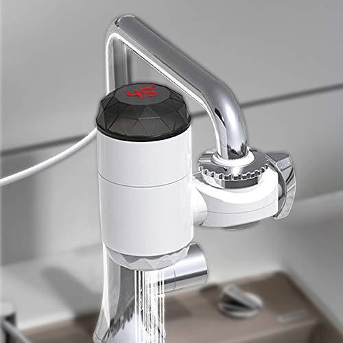 220 V calentador de agua electrico grifo sin tanque instantaneo bano cocina grifo de agua con pantalla digital LED 3000 W