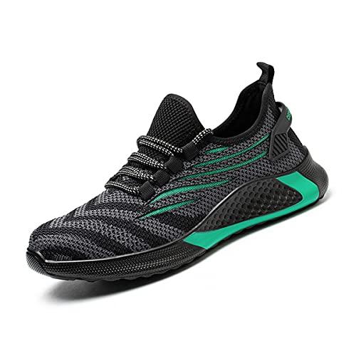 Aingrirn Zapatos de Seguridad Hombre Mujer Ligeras Zapatos de Trabajo Punta de Acero Deportivo Respirable Calzado de Construcción (Color : Green, Size : 39 EU)
