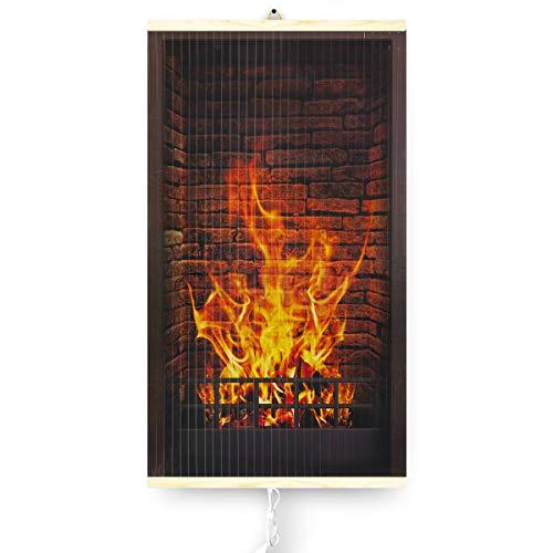 Trio Infrarotheizung Thermostat Bildheizung Heizpaneel Infrarot Heizkörper 430W Elektro Heizung mit Motiv 100x57cm (Kamin)