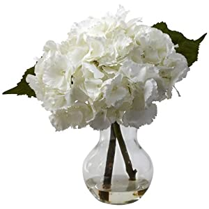 Nearly Natural 1314 Blooming Hydrangea with Vase Arrangement, White