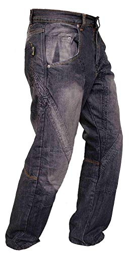 Newfacelook Schwarze Motorradhose Rüstungen motorrad Hose Jeans mit Aramid verstärkt Schutzauskleidung I112 New Black W38 L44