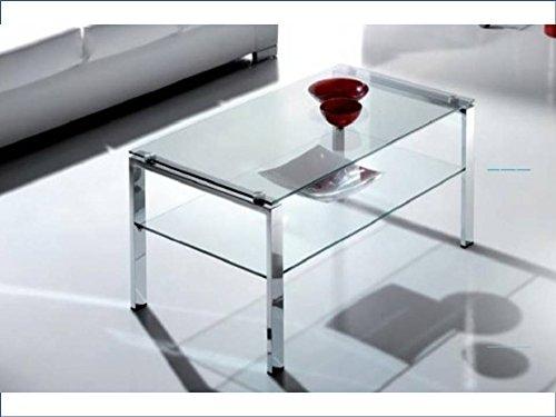 Crespo Decoracion Mesa de Centro Acero Cromado y Cristal 103 x 60 Modelo FALBAR