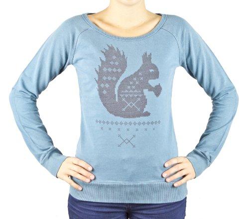 Sublevel, Damen Sweatshirt Pullover im Used Look, Rundhals mit Squirrel Aufdruck, Farbe Petrol, Gr. S