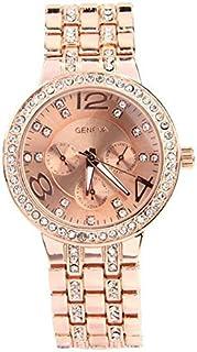 Geneva Crystals Rose Gold Tone Metal Fashion Quartz Watch