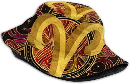Sombreros de Cubo Transpirables con Parte Superior Plana Bikini Unisex Mujeres en el Espacio Sombrero de Cubo de Playa Sombrero de Pescador de Verano-Signo del Zodiaco de Aries-Talla única