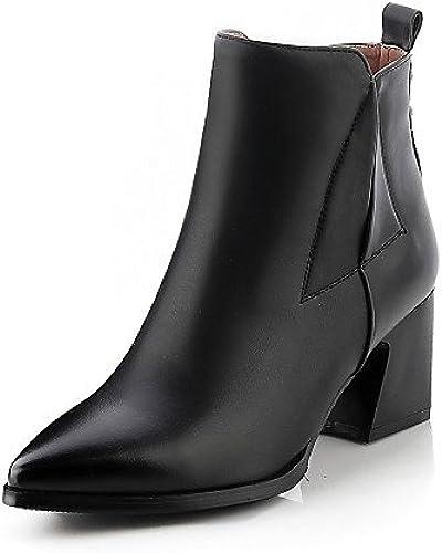 JHUIK Xzz femme Chaussures similicuir Chunky Talon Bout Pointu Bout fermé Bottes d'extérieur