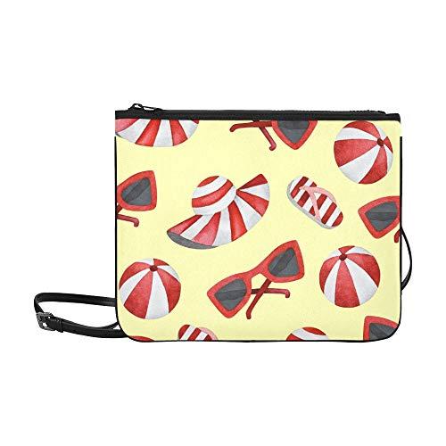 Reise Umhängetasche Cartoon Süße Strandfarbe Sonnenhut Verstellbarer Schultergurt Coole Umhängetasche Für Frauen Mädchen Damen Reißverschluss Umhängetasche Süße Clutch Tasche