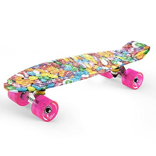 """Cruiser Skateboard for Kids Ages 6-12 Completed Skateboards for Girls Boys Beginners, Gift Idea Mini 22"""" Plastic Skate Board"""