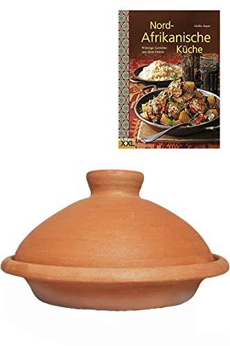 Tajine, original aus Marokko, inklusive Kochbuch Nord Afrikanische Küche, Tontopf zum Kochen, Targi Ø 35cm, für 6-8 Personen, handgetöpfert aus Marrakesch, frei von Schadstoffe