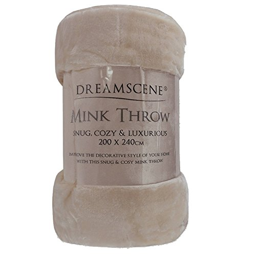 Dreamscene Luxury Faux Fur Fleece Throw Over Sofa Bed Soft Warm Blanket, Mink, 125 x 150cm