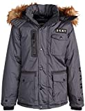 DKNY Boys' Heavyweight Ski Parka Polar Fleece Lined Jacket with Sherpa Lined Hood, Size Medium / 10-12, Charcoal'