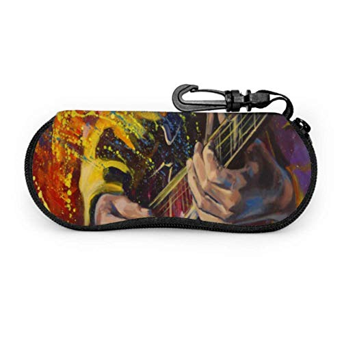 Funda para gafas de jazz rock Cool guitarra eléctrica para niño y mujer, funda de neopreno suave con cremallera para gafas de sol
