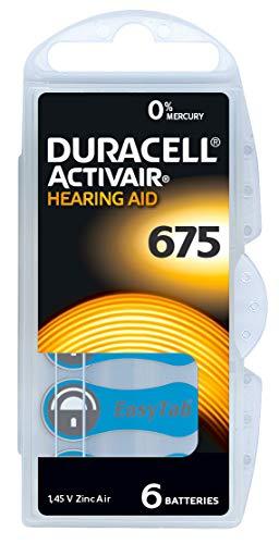 Duracell 675 - 60 batterie per apparecchi acustici Zinc Air P675 PR44 ZL1 con 2 panni di pulizia LUXTOR per apparecchi acustici e oplastiche