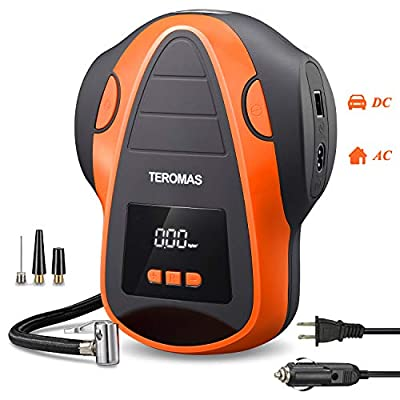 TEROMAS Tire Inflator Air Compressor, Portable DC/AC Air Pump for Car Tires 12V DC and Other Inflatables at Home 110V AC, Digital Electric Tire Pump with Pressure Gauge by teromas