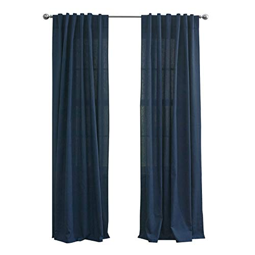 BrylaneHome Cotton Canvas Back-Tab Panel - 48I W 96I L, Navy