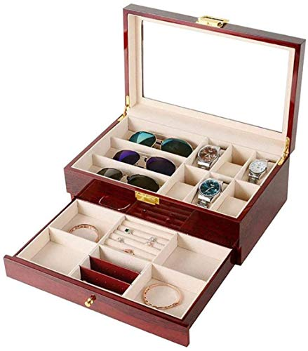 Caja de almacenamiento de joyas para 6 relojes y 3 gafas con cajón de exhibición de joyas, caja de metal, organizador de almacenamiento, gran parte superior de cristal para mujeres y niñas