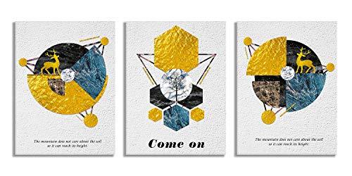 Lienzo abstracto con impresión geométrica de ciervos dorados para pared, arte de pared, color azul, 3 piezas