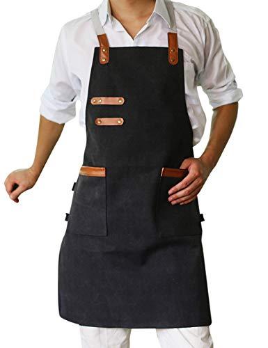 Unisex Dubbele Zak Gewassen Canvas Schort Keuken Tuin Werkkleding - Creatief Restaurant Cafe Kleding